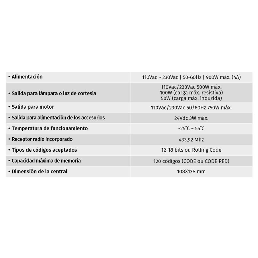 Central Electrónica para Motores de Puertas Correderas MC1 tabla