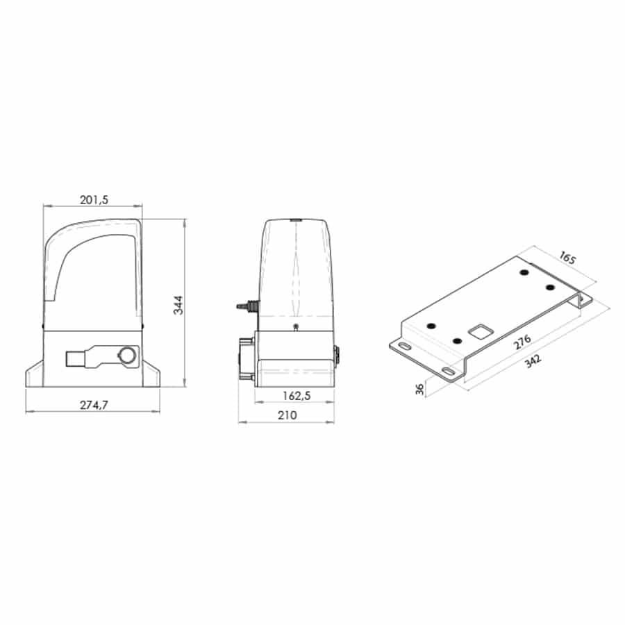 Motor para Puerta Corredera en Kit OL1500 medida
