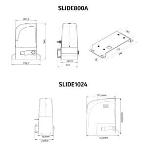 Motor Puerta Corredera SLIDE800A medidas
