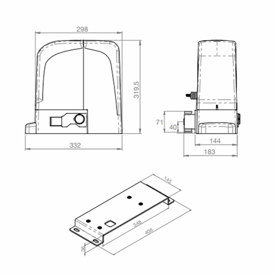 Motor para Puertas Correderas en KIT BRAVO 524 medidas