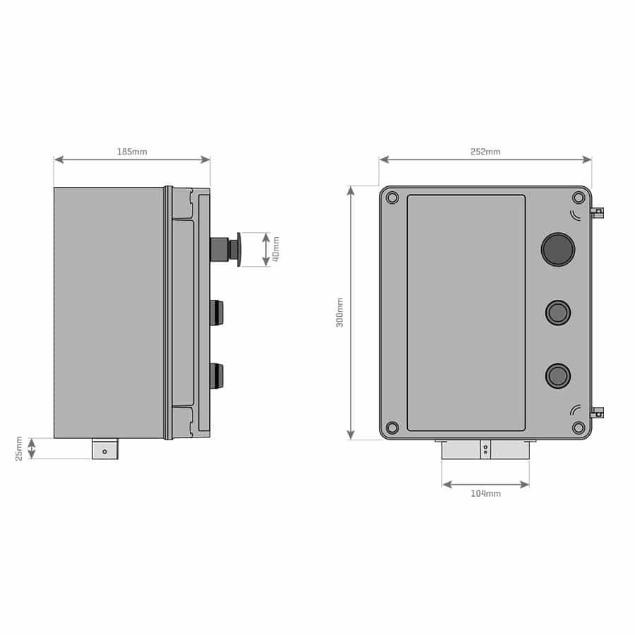 Central Electrónica con Botones para Puertas Rápidas de PVC MC112 medidas