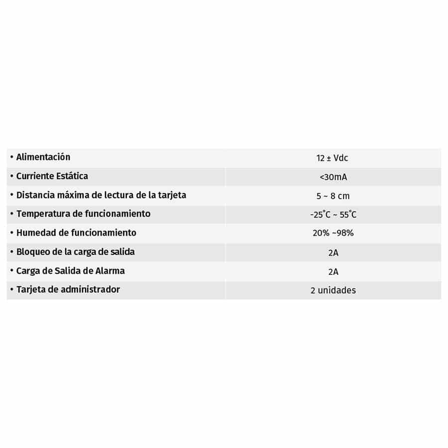Lector de Tarjetas de Acceso MLS4 tabla
