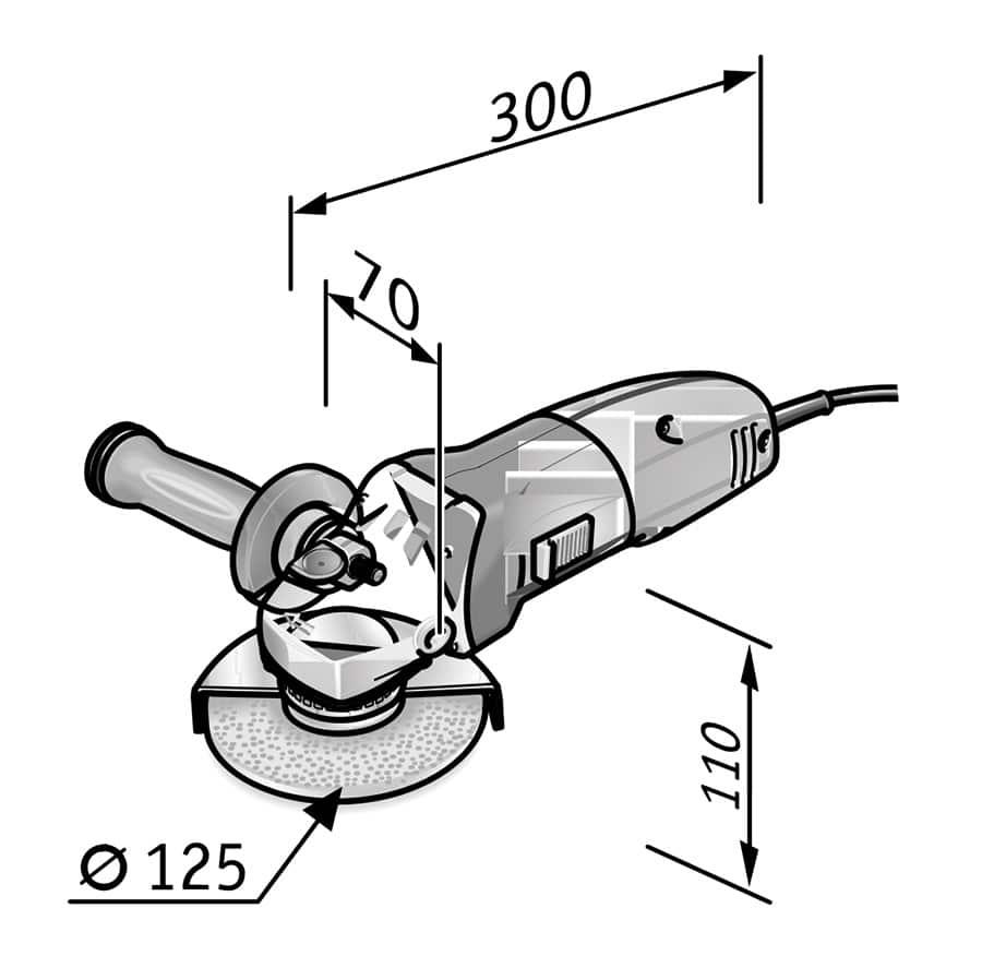 Amoladora FLEX L14-7 125 INOX medidas