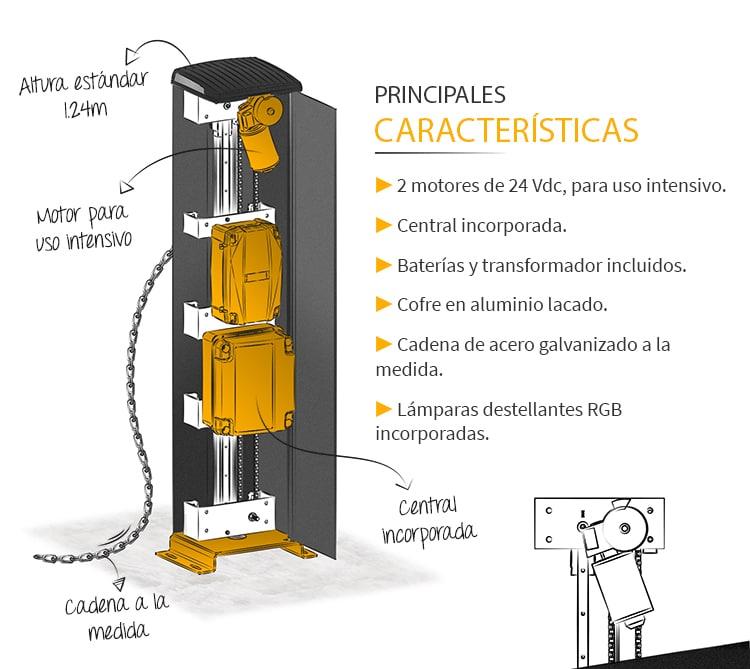 Barrera de Cadena para Control de Accesos de Vehículos CHAINLIFT