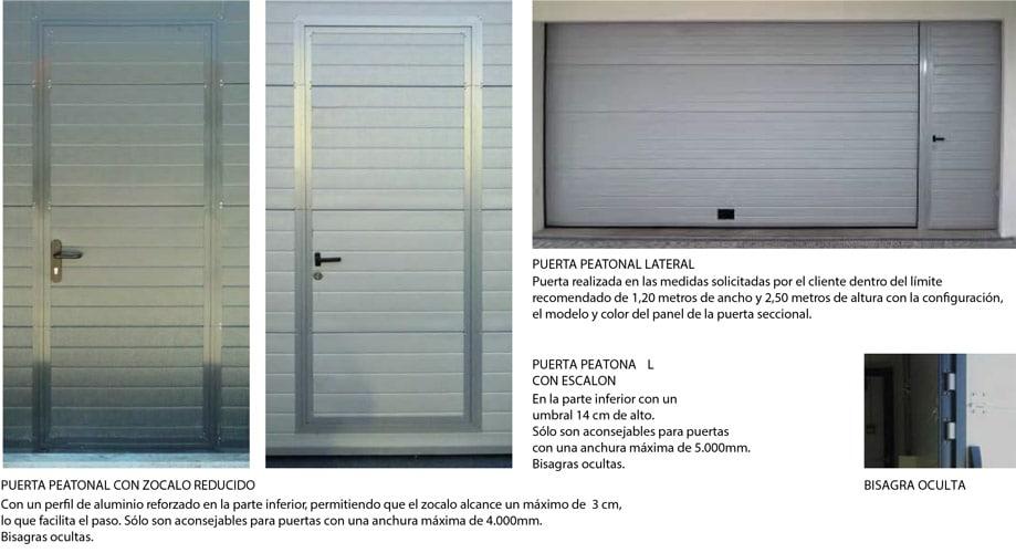 tipos de puertas peatonales para puertas seccionales