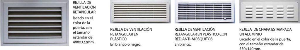 tipos de rejillas de ventilación para puertas seccionales