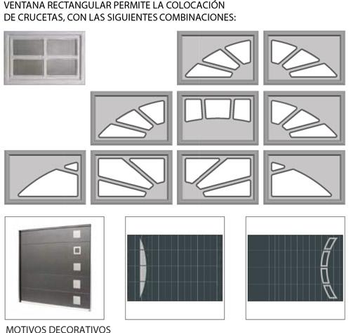 tipos de ventanas decorativas para puertas seccionales